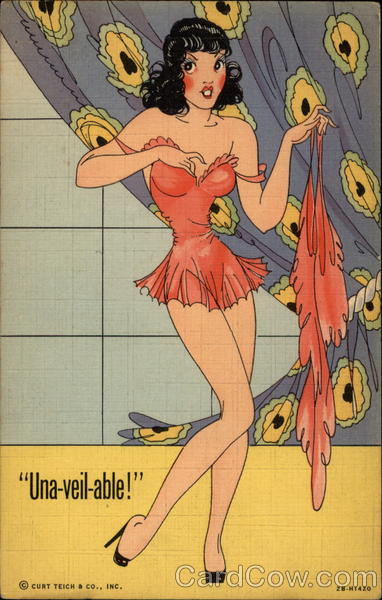 Una-veil-able Cartoon of woman taking off lingerie