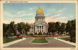 Idaho's State Capitol, with summer planting