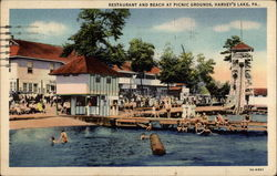 Restaurant and Beach at Picnic Grounds Postcard