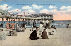 On the sands, showing pier Postcard