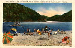 Beach, Lake and Mountains at Hungry Mother State Park Postcard