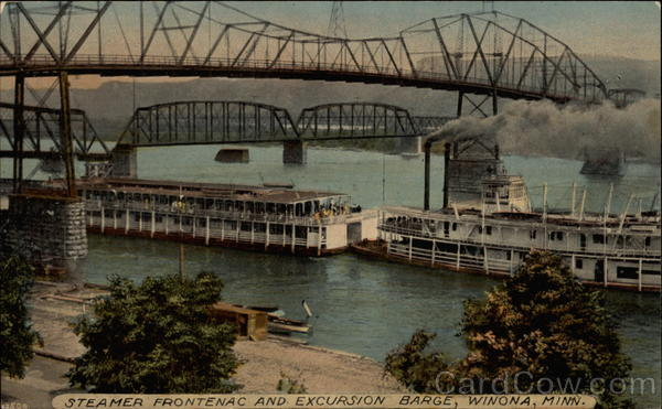 Steamer Frontenac and Excursion Barge Winona Minnesota