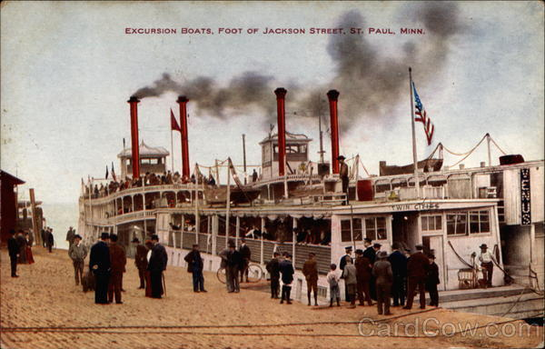 Excursion Boats, Foot of Jackson Street St. Paul Minnesota
