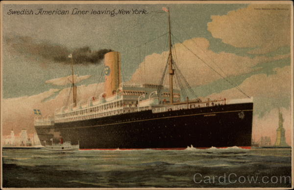 Swedish American Liner leaving New York Boats, Ships