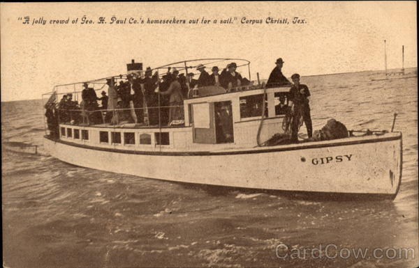 A jolly crowd of Geo. H. Paul Co.'s homeseekers out for as sail. Corpus Christi Texas