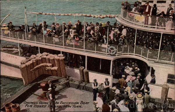 Crowds Going on Excursion Boat For Coney Island, NY New York