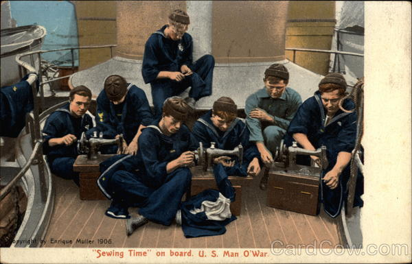 Sewing Time  on board U. S. Man O'War Navy