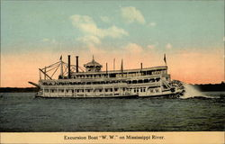 "Excursion Boat ""W. W."" on Mississippi RIver"