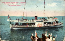 "Glass bottom power boat ""Emperor"" showing the submarine gardens at Catalina Island Postcard"
