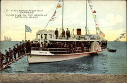 Glass Bottom Power Boat 'Empress' Unloading on the Beach at Catalina Island Postcard