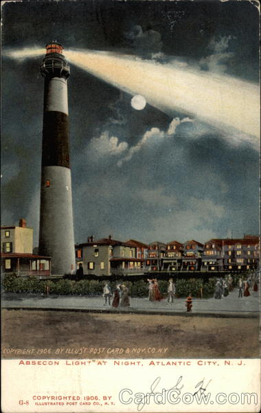 Absecon Light At Night Atlantic City New Jersey