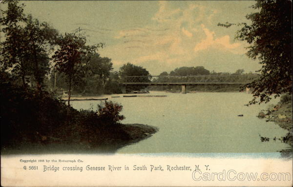 Bridge crossing Genesee River in South Park Rochester New York