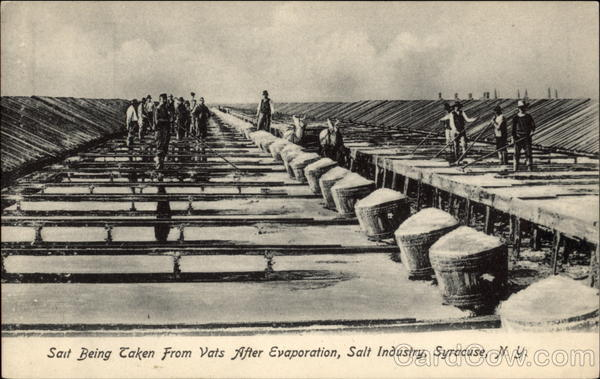 Salt Being Taken From Vats After Evaporation, Salt Industry Syracuse New York
