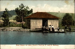 Boat House on Lake, Electric Park on A. and H. Railway