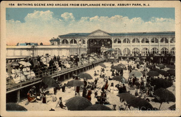 Bathing Scene and Arcade from Esplanade Review Asbury Park New Jersey