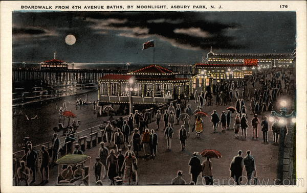 Boardwalk from 4th Avenue Baths, By Moonlight Asbury Park New Jersey