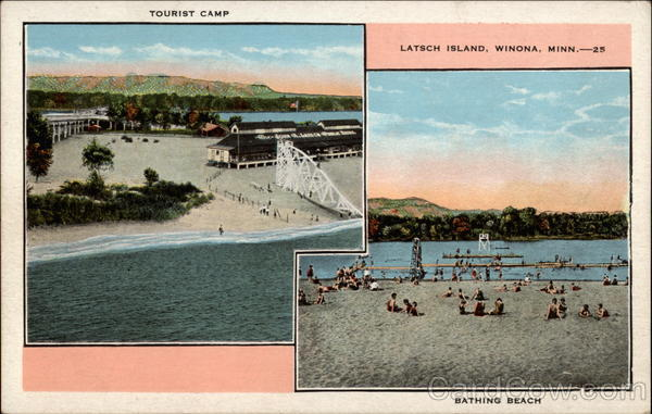 Tourist Camp and Bathing Beach, Latsch Island Winona Minnesota