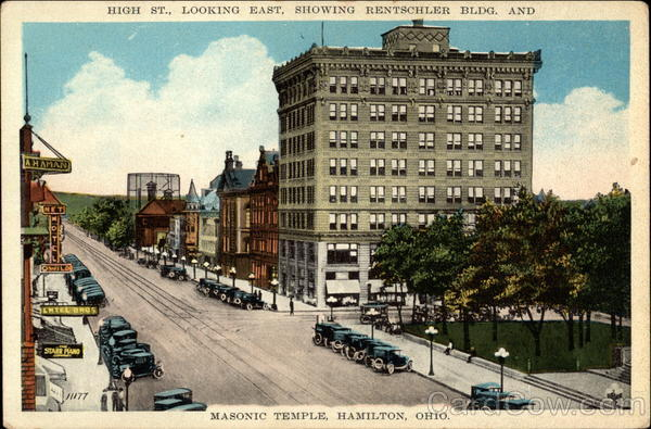High St., Looking East, showing Rentschler Bldg. and Masonic Temple Hamilton Ohio