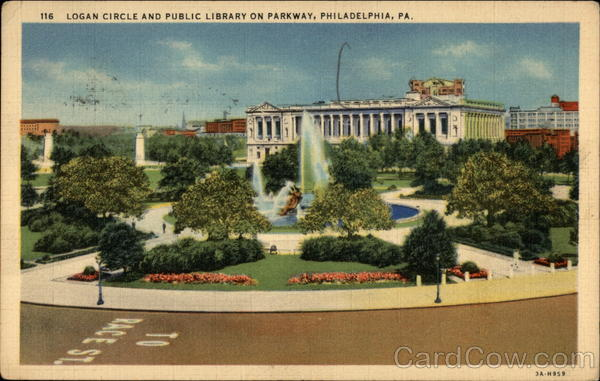Logan Circle and Public Library on Parkway Philadelphia Pennsylvania