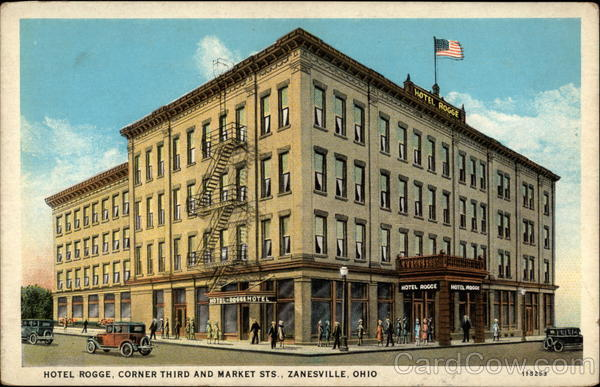 Hotel Rogge, Corner Third and Market Sts Zanesville Ohio
