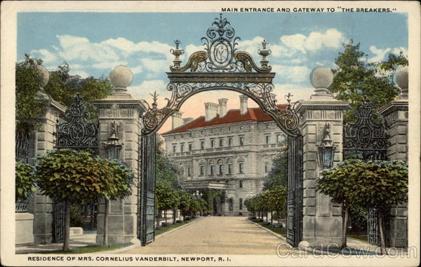 Main Entrance and Gateway to The Breakers. Newport Rhode Island