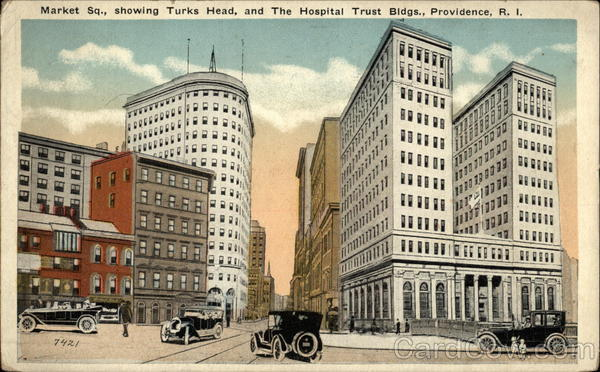 Market Square, Showing Turks Head and the Hospital Trust Buildings Providence Rhode Island