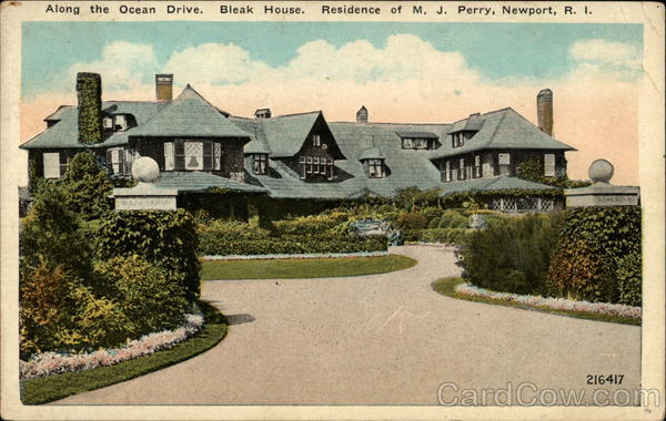Along the Ocean Drive. Bleak House. Residence of M. J. Perry Newport Rhode Island
