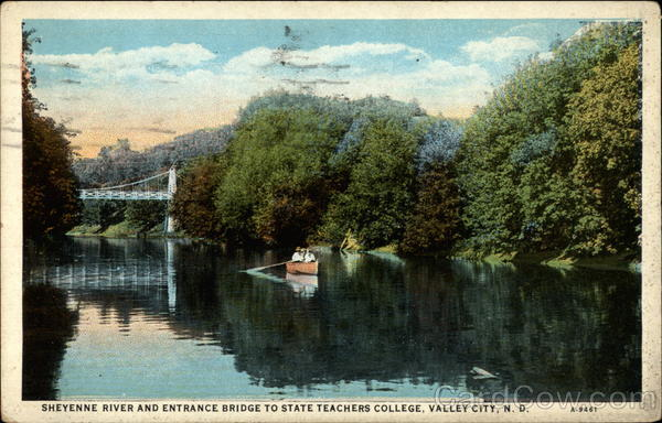 Sheyenne River and Entrance Bridge to State Teachers College Valley City North Dakota