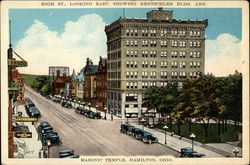 High St., Looking East, showing Rentschler Bldg. and Masonic Temple