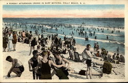 A Sunday Afternoon Crowd in Surf Bathing Postcard