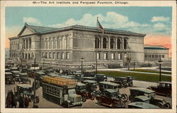 The Art Institute and Ferguson Fountain Postcard