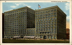 Congress Hotel - Michigan Avenue and Congress Postcard