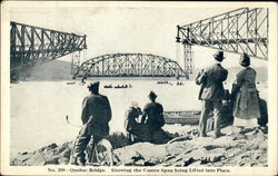 Quebec Bridge. Showing the Centre Span being lifted into place