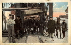 Mine Cage with Miners Ready to Descend Shaft