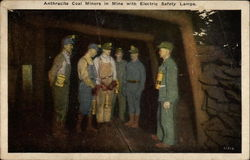 Anthracite Coal MIners in MIne with Electric Safety Lamps