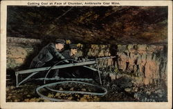 Cutting Coal at Face of Chamber, Anthracite Coal Mine
