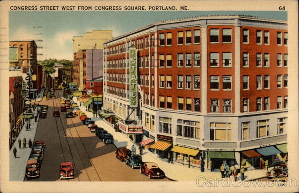 Congress Street West from Congress Square Portland Maine