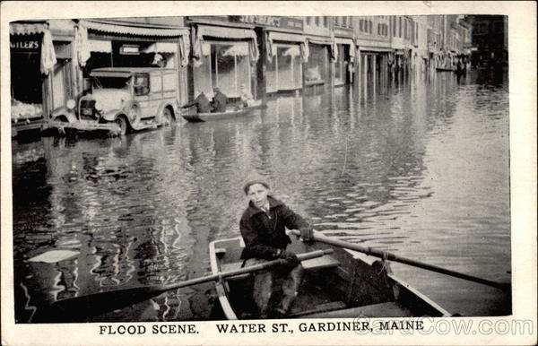 Flood Scene. Water Street Gardiner Maine