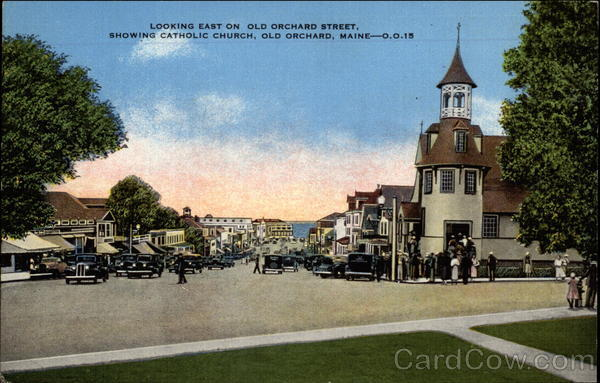 Looking East on Old Orchard Street, showing Catholic Church Old Orchard Beach Maine