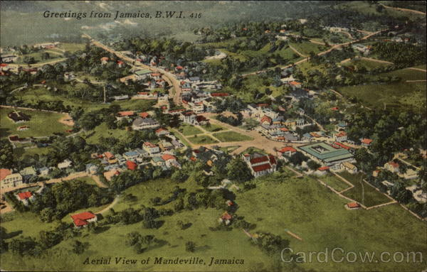 Aerial view of Mandeville, Jamaica