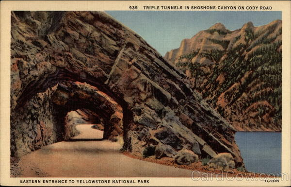 Triple Tunnels in Shoshone Canyon on Cody Road. Eastern Entrance Yellowstone National Park Montana