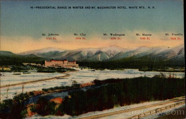 Presidental Range in Winter and Mt. Washington Hotel Carroll New Hampshire