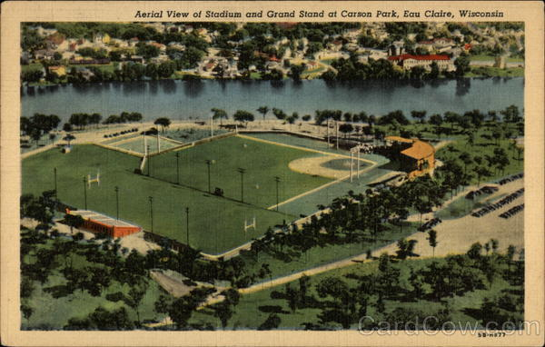 Aerial View of Stadium and Grand Stand at Carson Park Eau Claire Wisconsin