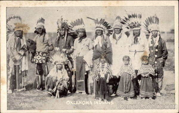 Oklahoma Indians, b&B photo of tribe members in native dress