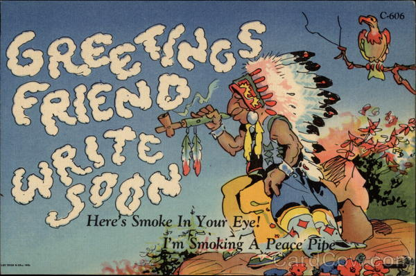 Indian chief with peace pipe and smoke forming Greetings