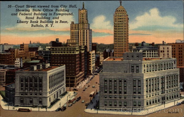 Court Street, show state and federal buildings Buffalo New York