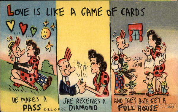 Romantic cartoon, 3 panels (Love is like a game of cards)