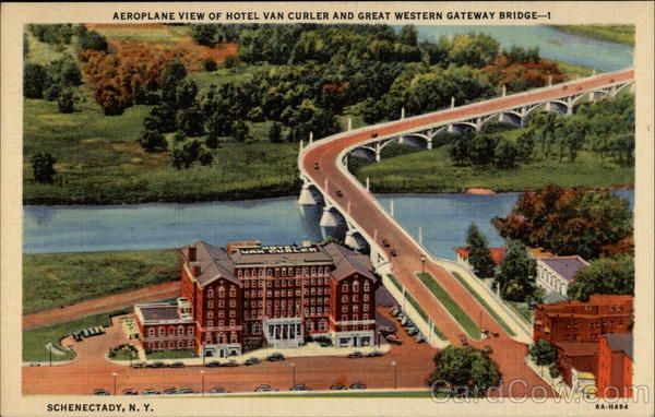 Aeroplane View of Hotel Van Curler and Great Western Gateway Bridge Schenectady New York