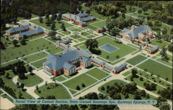 Aerial View of Central Section, State owned Saratoga Spa Saratoga Springs New York