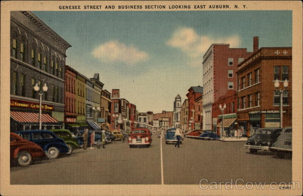 Genesee Street and Business Section Looking East Auburn New York